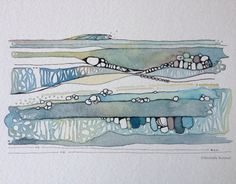 Sometimes, The Waves Roll In Gently... ~ Original Ink & Watercolor by Shell Rummel ©Michelle Rummel