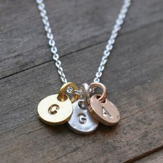 monogram initial necklace in gold, silver + rose gold
