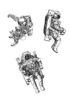 Pen and ink drawing, study 3 astronauts.