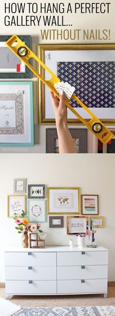 How to Hang a Perfect Gallery Wall. Without Nails Okay seriously this is the most brilliantly amazing home decor tips I have ever seen! Gallery walls are totally not overwhelming anymore! Diy Casa, Inspiration Wall, Easy Home Decor, Frames On Wall, Hanging Frames, Wall Picture Frames, Picture Hanging Tips, Colorful Picture Frames, Bedroom Decor
