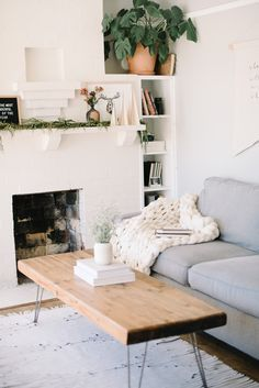 Living space complete with a cozy chunky knit blanket from Crafters Box.