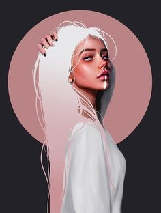 Millions of unique designs by independent artists. Find your thing.You can find illustration art girl and more on our website.Millions of unique des. Digital Art Girl, Digital Portrait, Portrait Art, Cartoon Kunst, Cartoon Art, Fantasy Kunst, Fantasy Art, Drawn Art, Arte Sketchbook