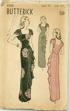 Elegant floor length evening dresses - Butterick 4144. #vintage #1940s #sewing_patterns