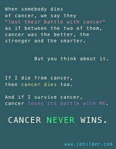 Cancer never wins!!!