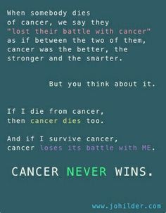 Cancer never wins!!!