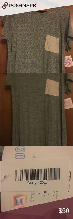 NWT LLR Carley NWT LLR Carley. Heathered grey with cream pocket. LuLaRoe Dresses
