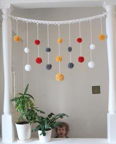Идеи использования остатков пряжи, помпоны, нитки, пряжа, гирлянда, вязание, украшение