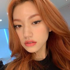 asian makeup – Hair and beauty tips, tricks and tutorials Kpop Girl Groups, Kpop Girls, Korean Girl, Asian Girl, Red Hair Korean, Eyebrow Slits, Kpop Hair, Kim Doyeon, Dimples