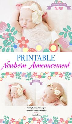 Birth Announcement Template Flower Garden E10 by ElyanaIvette