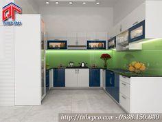 Tủ bếp Acrylic có quầy bar thiết kế hài hoà nổi bật TBX120