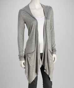 Look at this Retro Rags Gray Hooded Sidetail Duster - Women on #zulily today!