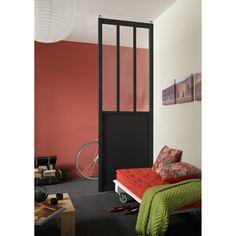 Cloison amovible vitrée en MDF Atelier, larg. 80cm x haut. de 2.40 x 2.50m | Leroy Merlin