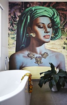 Big Tretchikoff print against bathroom wall - SA artist