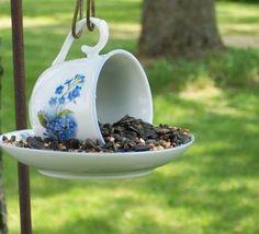 upcycled tea cup as bird feeder