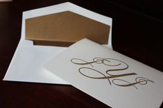 Three Initial Gold Monogram Thank You Card by classiceventdesigns, $2.25