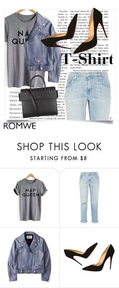 """""""🎁Grey Letter Print Cuffed T-Shirt Outfit🎁"""" by puddingis ❤ liked on Polyvore featuring interior, interiors, interior design, home, home decor, interior decorating, Current/Elliott, Acne Studios, Christian Louboutin and Givenchy"""