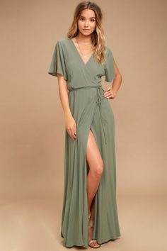 We're forever grateful we found the Much Obliged Washed Olive Green Wrap Maxi Dress! Gauzy woven rayon drapes into a sultry surplice bodice, and tying wrap maxi skirt Lulu's. Maxi Wrap Dress, Maxi Dress With Sleeves, The Dress, Gray Dress, Sheath Dress, Dress Black, Olive Green Bridesmaid Dresses, Maxi Dresses, Women's Fashion Dresses