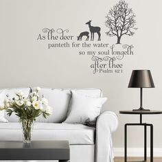 Vinyl Wall Decal Psalm 42:1 As The Deer Panteth For Water Bible Verse Religious  Wall Quote Inspirational Decal Home Decor Wall Quote Faith