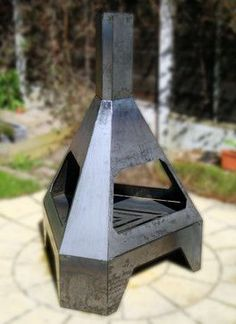 Metal fireplace chiminea for the back patio or porch. #fireplace #chiminea Dun4Me is the marketplace for custom made items built to your exact specifications by talented makers. Get bids for free, no obligation!