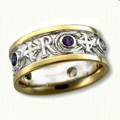 14kt Two Tone Initial and Cross Wedding Band with Bezel Set Stones