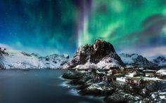 Earth Aurora Borealis  Earth Light Sky Norway Mountain Village Wallpaper