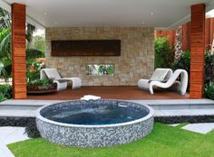 Tiled Plunge pool - handmade and painted tiles can be customized by ceramic studios Plunge Pool, Create Your Own, Lush, Greenery, Oasis, Pools, Swimming Pools, Kid Pool, Ponds