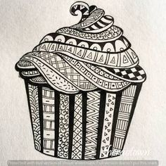 Image result for zentangle cupcake