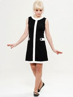 mademoiselle yeye louise retro mod dress in black white 1960s Fashion Dress, Mod Fashion, Fashion Dresses, Vintage Fashion, Womens Fashion, Fashion Ideas, Vintage Style Outfits, Vintage Dresses, Vintage Mode