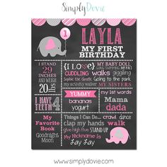 Our Girl Elephant First Birthday Chalkboard Poster is a great keepsake to remember your little ones first year! It will add the perfect stylish touch to your child's birthday party and even great to use in birthday photos. It's so awesome you can even hang it on your child's bedroom wall afterwards.