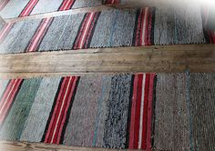 Carpet from recycled material. Traditional Finnish rag rugs.