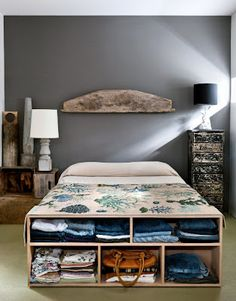 when I have a real bed, I will put shelves at the end of it, exactly like these. exactly