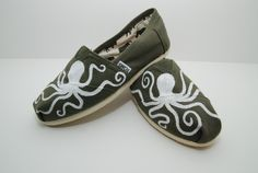 White octopus custom painted TOMS shoes