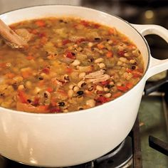 Hoppin' John Recipe - Cooking with Paula Deen ***add carrots & smoked sausage also don't drain tomatoes/green chilies Pea Recipes, Crockpot Recipes, Soup Recipes, Cooking Recipes, Chili Recipes, Recipies, Meatless Recipes, Crockpot Dishes, Rice Recipes