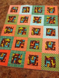 Dino Dudes Baby Boy Toddler Crib  Quilt in  by ModernMaterialGirl, $139.00