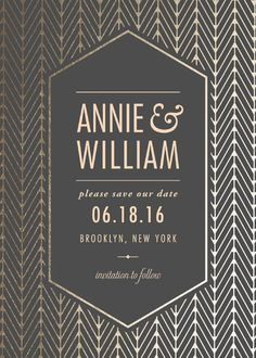 """""""Elegant Charm"""" - Elegant, Formal Foil-pressed Save The Date Cards in Midnight Grey by SimpleTe Design. Formal Save The Dates, Gold Save The Dates, Save The Date Cards, Invitation Paper, Wedding Invitations, Dating, Charmed, Graphic Design, Elegant"""