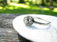 Beautiful Art Deco Old European Cut Diamond Solitaire Ring. $524.00, via Etsy.