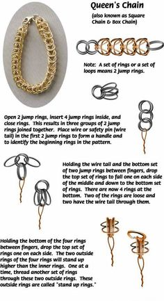 Queen ChainFree Diy Jewelry Projects | Learn how to make jewelry - beads.us Diy Jewelry Projects, Jewelry Making Tutorials, Jewelry Supplies, Jewelry Crafts, Wire Wrapped Jewelry, Metal Jewelry, Beaded Jewelry, Vintage Jewelry, Jewellery