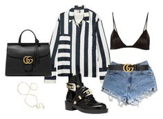 """""""Untitled #5097"""" by lilaclynn ❤ liked on Polyvore featuring Topshop Unique, Levi's, Fleur du Mal, Gucci, Balenciaga, topshop and gucci"""