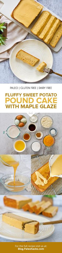 Fluffy Sweet Potato Pound Cake with Creamy Maple Glaze Paleo Dessert, Healthy Dessert Recipes, Gluten Free Desserts, Whole Food Recipes, Paleo Recipes, Sweets Recipes, Cupcake Recipes, Sweet Potato Pound Cake, Sweet Potato Recipes