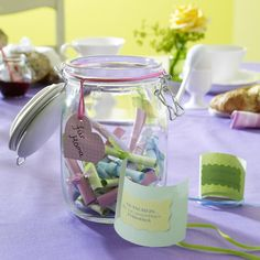 jar filled with little notes as a present
