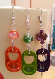 Orange Green or Purple Soda Pop Tab Earrings by ENERGYearrings