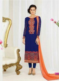Sightly Blue and Orange Faux Georgette Decent Indian Salwar Kameez