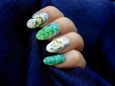 Model manichiura cu oja alba si stikere - water decals nail design
