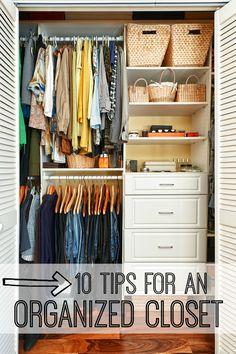 10 Tips for an Organized Closet. Get your closet organized with these awesome closet organization secrets.