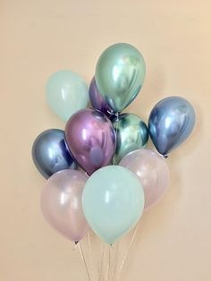 Mermaid Balloons~Under the Sea Party~Chrome Balloon~Blue Purple Mint~Mermaid Birthday~Mermaid Party Decor~Baby Shower~First Birthday~Wedding