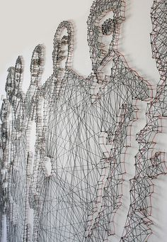 Thread and nail portraits created from old family photographs by Pamela Campagna and Thomas Scheiderbauer