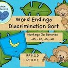 Students practice word ending discrimination with this fun monkey and bananas sort from Autism Adventures. Included are banana pockets for -an, -en, -in, and -un endings. Six word cards to sort per ending for 24 sorting word cards total.