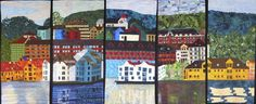 Reflections of Norway.  5-panel collaborative quilt at Boulder Loose Threads