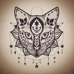 Mandala Cat Tattoo Design