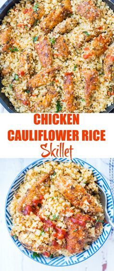 Chicken Cauliflower Rice with garlic chicken and nutty cauliflower rice is low carb Keto and ready in 20 minutes. This Low Carb Chicken Cauliflower Rice is healthy easy and packed with flavour. Healthy Dinner recipe for any day of the week. Rice Recipes, Healthy Dinner Recipes, Low Carb Recipes, Beef Recipes, Cooking Recipes, Thai Recipes, Delicious Recipes, Low Calorie Chicken Recipes, Mexican Recipes
